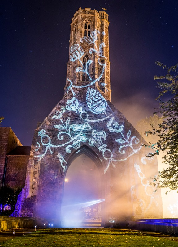 A light projection on Greyfriars Tower