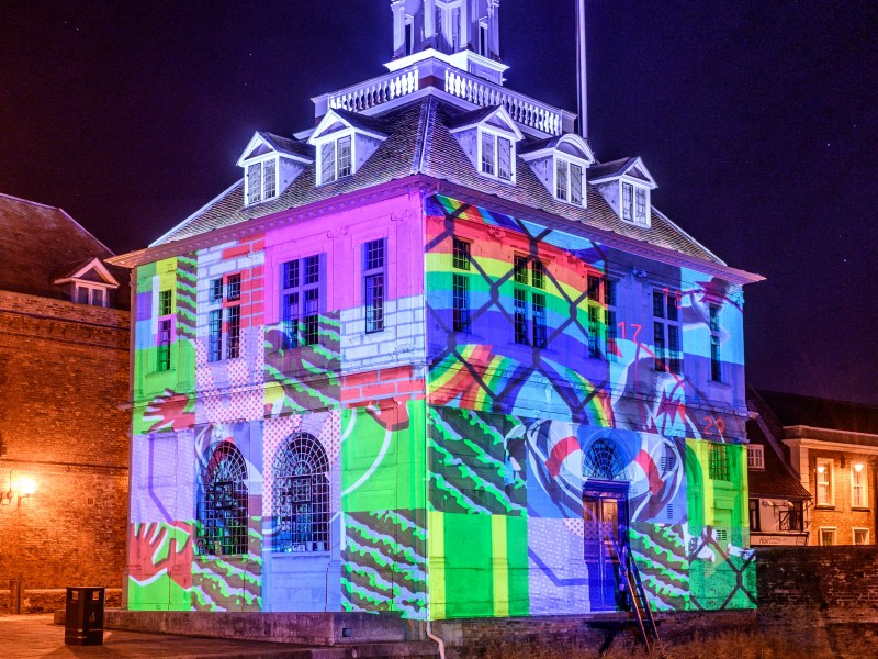 the custom house lit up with the projection by Joe Magee and Pete Cleary
