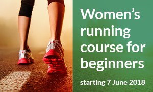 A promotional image of a runners legs advertising a women's running course starting June 2018