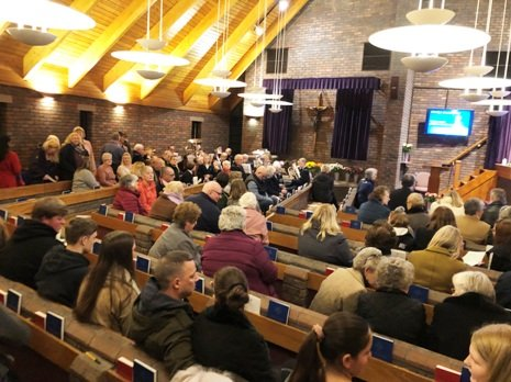 A crowd inside Mintlyn Crematorium before the service.