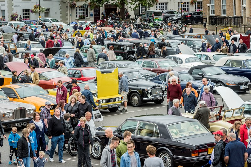 A view of the crowd in the Tuesday Market Place on Classic Car Day 2017