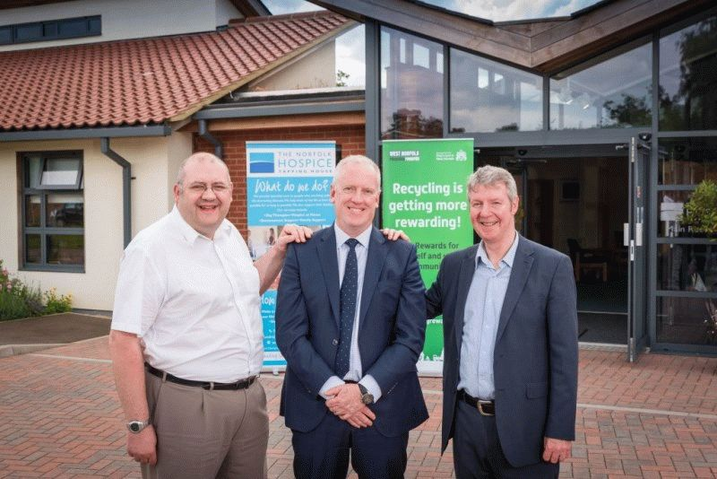 Cllr Brian Long pictured with Graham Simmonds from Local Green Points and Mark Shea of Norfolk Hospice