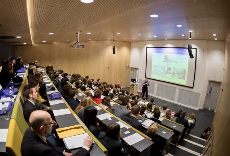 Students in the lecture theatre at the CWA University Centre, listening to a presentation as part of West Norfolk University Challenge Conference 2018