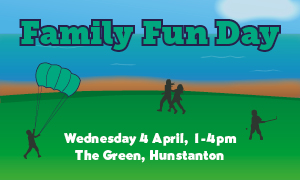 Family Fun Day Wednesday 4 April , 1-4pm, The Green Hunstanton
