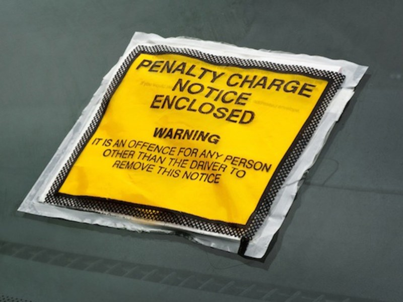 Penalty Charge Notice stuck on a windscreen