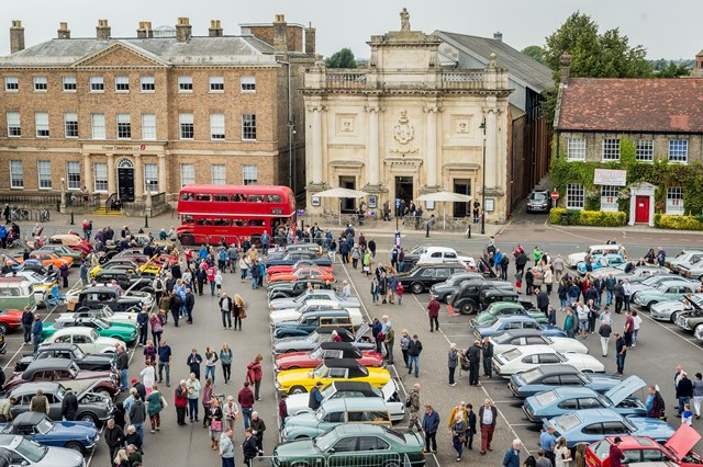 An aerial view of the Tuesday Market Place full of vintage cars on Classic Car Day, Sunday 10 September 2017.