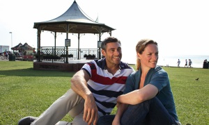A picture of two people sitting by the Bandstand at Hunstanton
