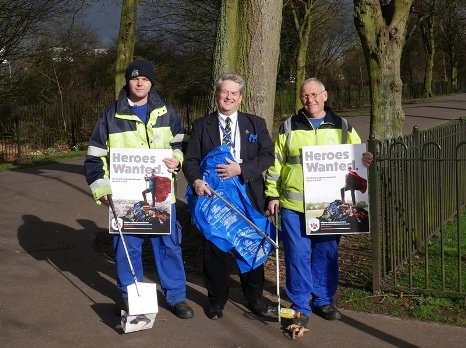 Cllr Ian Devereux and two BCKLWN staff members litter picking in The Walks