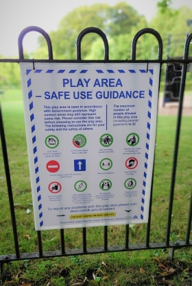 Play area safe use sign from The Walks, King's Lynn