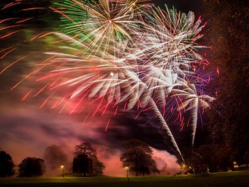 A firework display in The Walks in King's Lynn