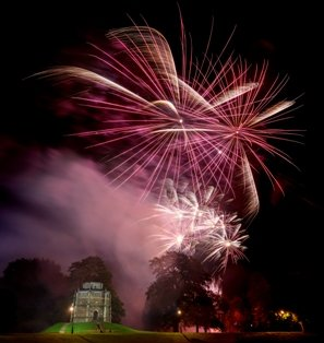 Fireworks over Red Mount Chapel from Fawkes in the Walks 2019.