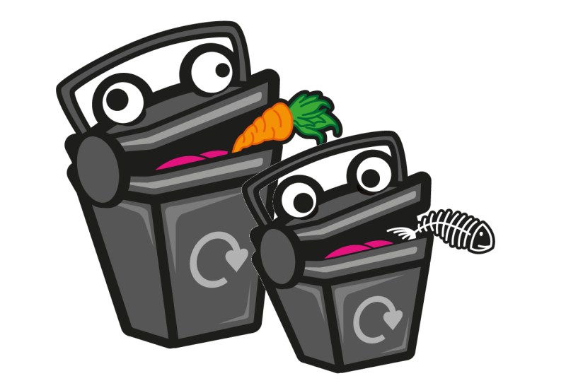 A cartoon of two big and small food waste bins