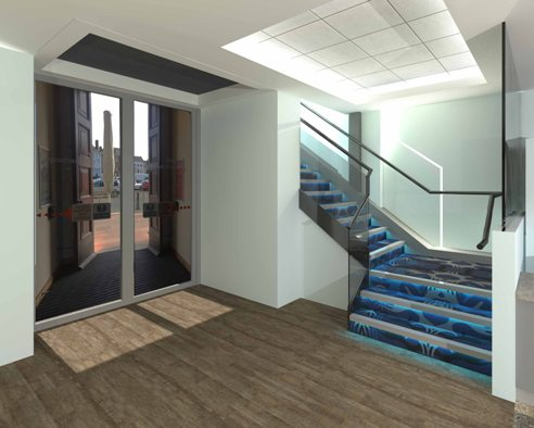 The new Alive Corn Exchange foyer with stairs up to the cinema.