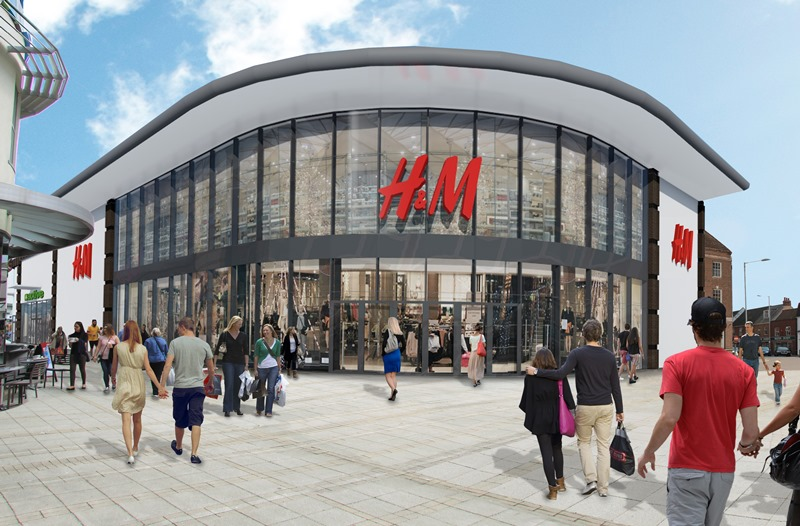 A CGI view of how the H&M store in the Vancouver Quarter will look