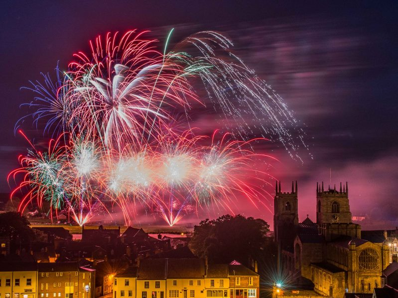 Fireworks over King's Lynn's minster