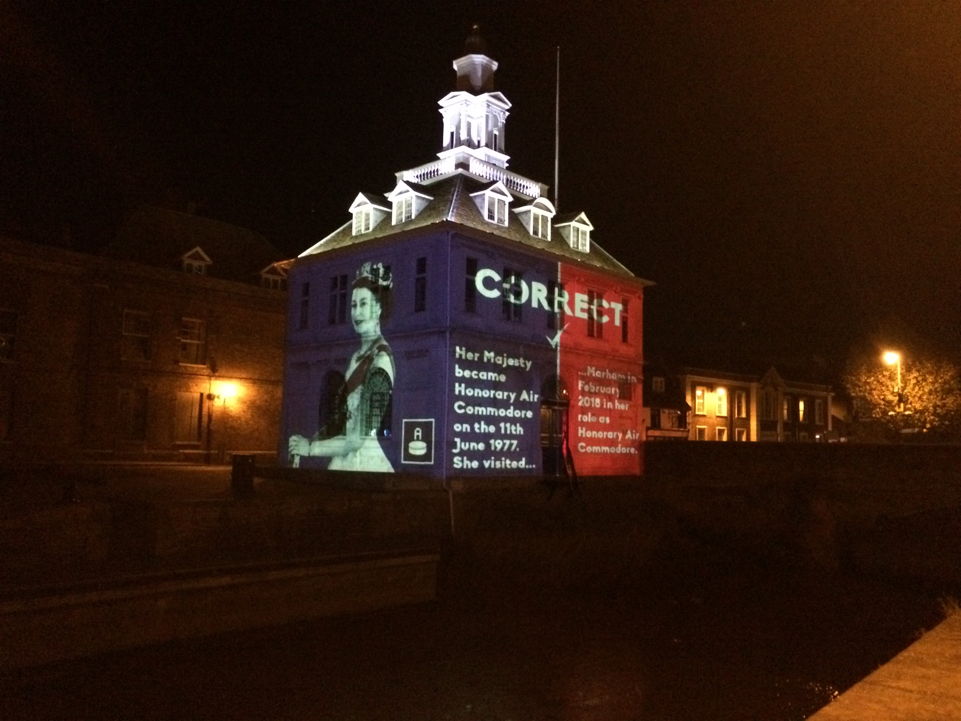 RAF100 game projected on the Custom House