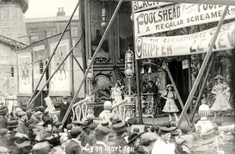 A photograph of a sideshow at King's Lynn's Mart in 1911