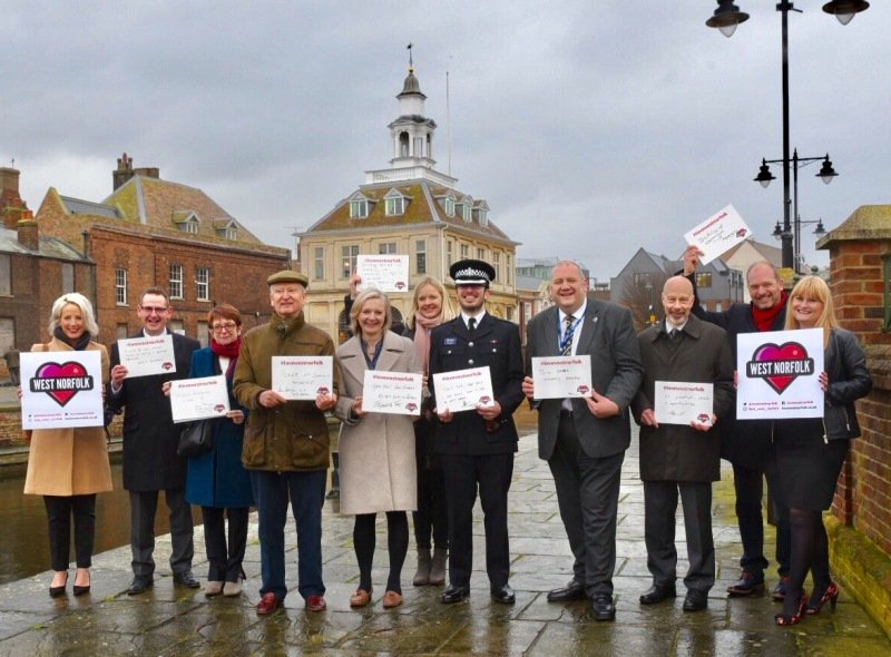 A group of local dignitaries launch Love West Norfolk in front of the Custom House in King's Lynn