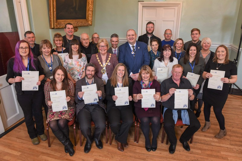 Our staff receive long service certificates from the mayor and the leader of the council