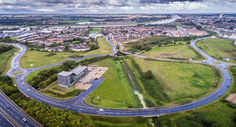 An aerial view of the Nar Ouse Business park and enterprise zone