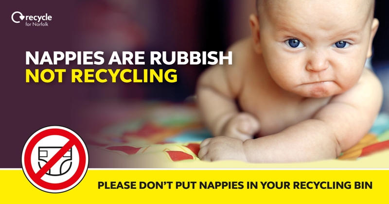 Nappies are rubbish not recycling please don't put your nappy in the recycling bin