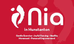 A promotional image with the words 'nia' advertising the non-impact aerobics event in Hunstanton