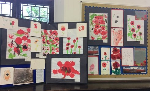 Picture of the Peace Day display at King's Lynn Library