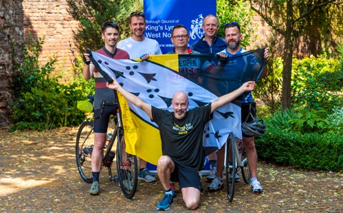 Picture of our flag relay cycling team.