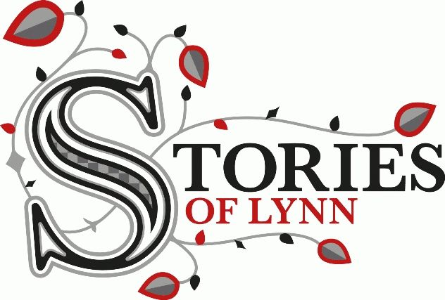 The Stories of Lynn logo, text surrounded by twining vines and leaves, in black silver and red