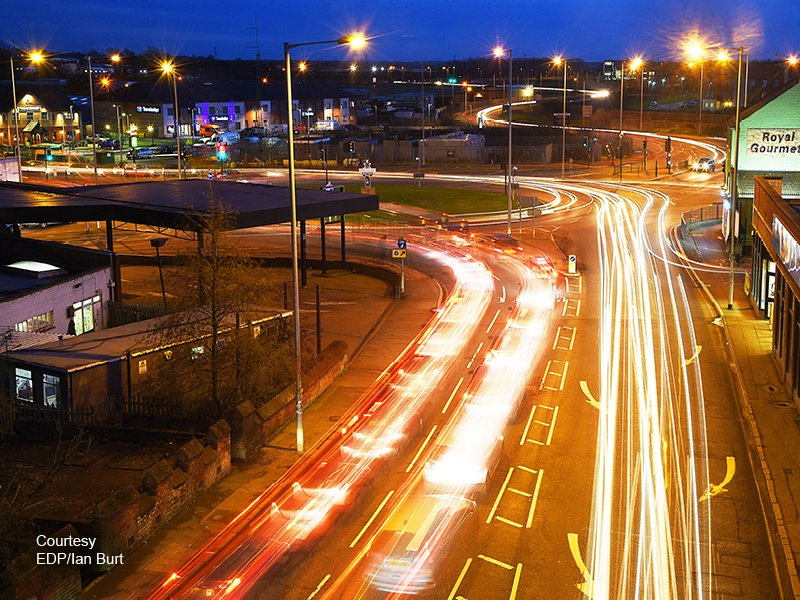 A view of traffic at night at the South Gate roundabout in King's Lynn