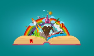 A cartoon image of a book being opened