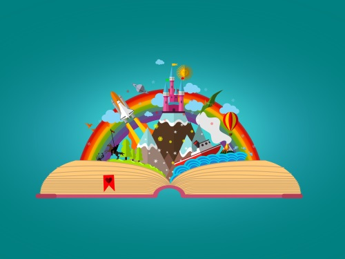 An image of a story book being opened