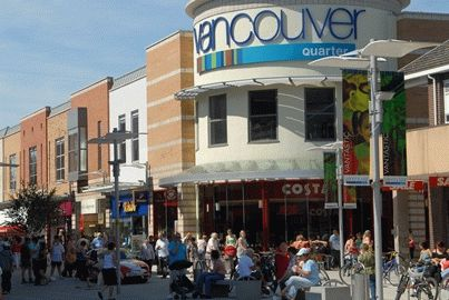 A view of the Vancouver Quarter in King's Lynn on a busy summer day
