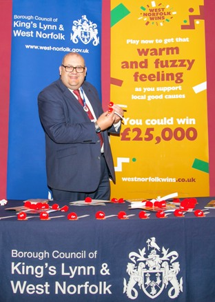 Cllr Brian Long launches the warm & fuzzy promotion for West Norfolk Wins
