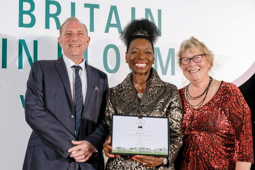 Picture of Chris Durham from the borough council. Floella Benjamin from RHS & Councillor Carol Bower.