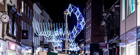 Picture of the Christmas lights in King's Lynn high street.