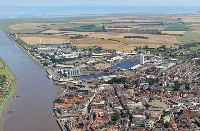 An aerial view of King's Lynn's docks area and River Ouse
