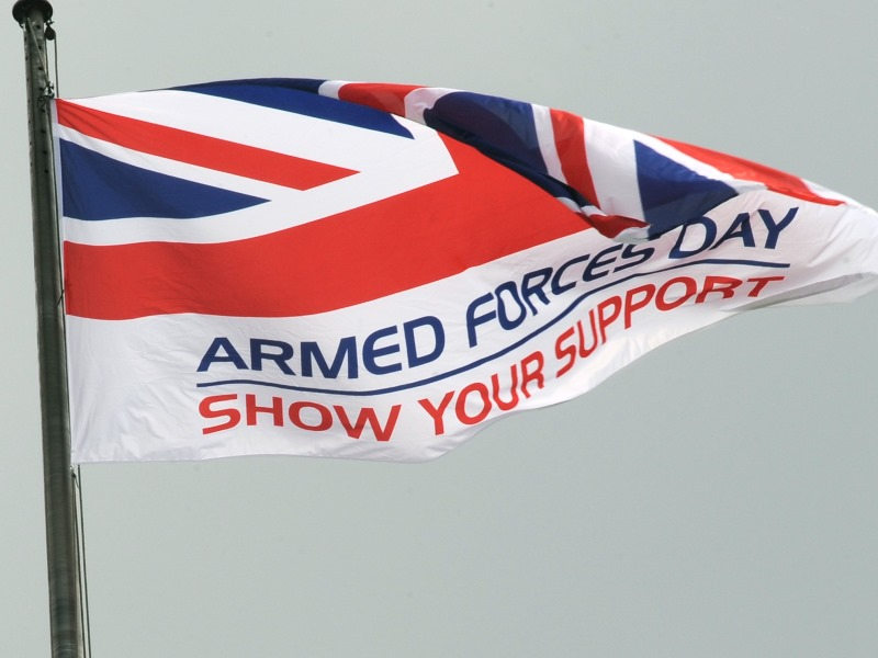 Armed Forces Day flag flying from a flagpole