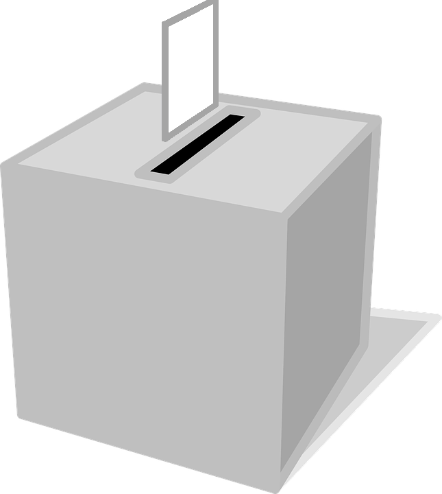 A graphic of a ballot box in grey