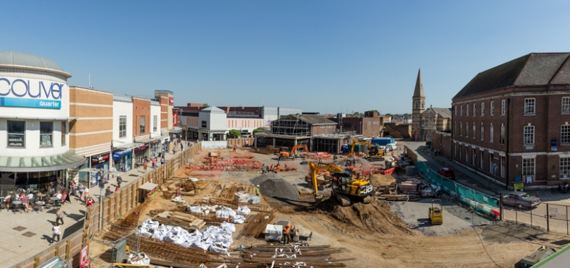A view of work being done to the Beales site in King's Lynn town centre