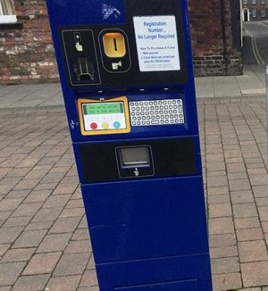 Car park ticket machine in the Tuesday Market Place