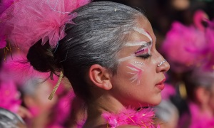 An image of a person with pink and white face paint and feathers, participating in a carnival