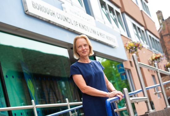 An image of the new Chief Executive Lorraine Gore stood outside the Borough Council of King's Lynn & West Norfolk's offices