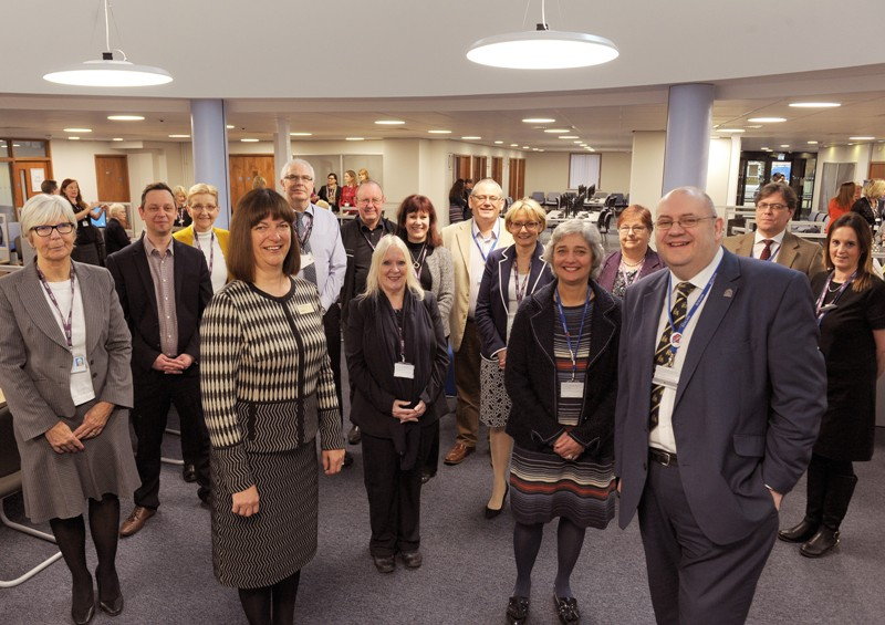 Cllrs Long and Mellish welcome DWP staff to the borough council offices at King's Court