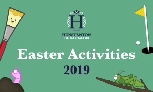 A banner image with 'Easter Activities 2019' on it, promoting the Easter activities for kids, on at Hunstanton