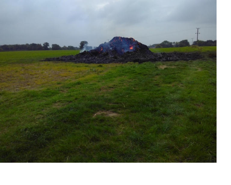 image of straw bale fire at North Runcton