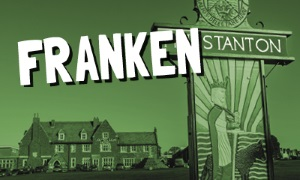 An image of the Hunstanton sign on The Green with the words 'Frankenstanton' on it