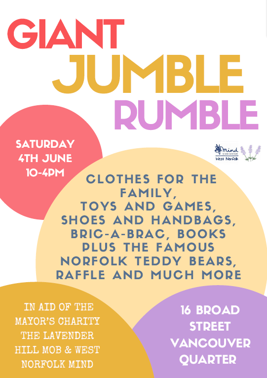 The Giant Jumble Rumble, Saturday 4 June 10am - 4pm, 16 Broad Street, King's Lynn