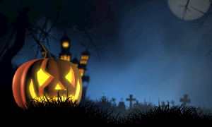 A cartoon halloween image of a lit pumpkin in front of a spooky castle at night