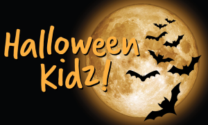 An image of bats flying past a moon with the words 'Halloween Kidz' across it
